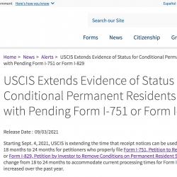 USCIS gia hạn thêm thời gian gỡ bỏ điều kiện thẻ xanh lên 24 tháng